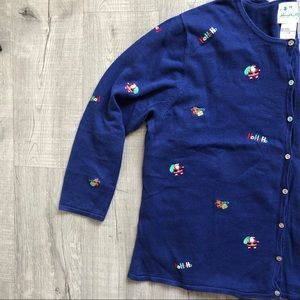 Quacker Factory Blue Christmas Top Long Sleeve 2X